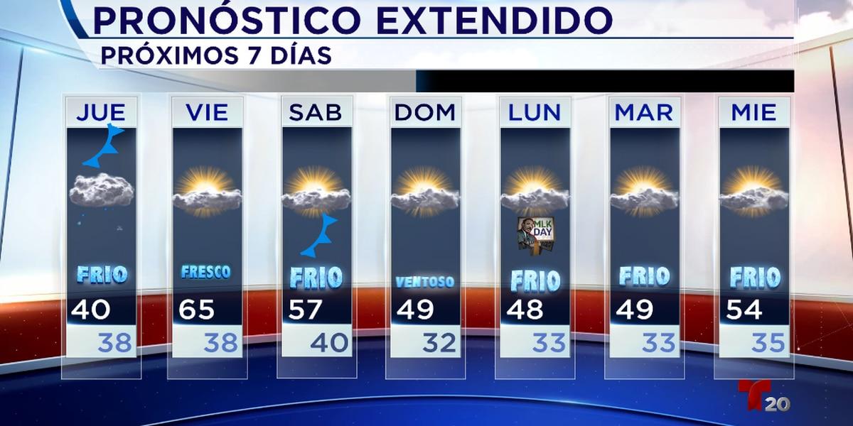 Durante nuestro Jueves se espera un clima muy frío, humedo, y ventoso.