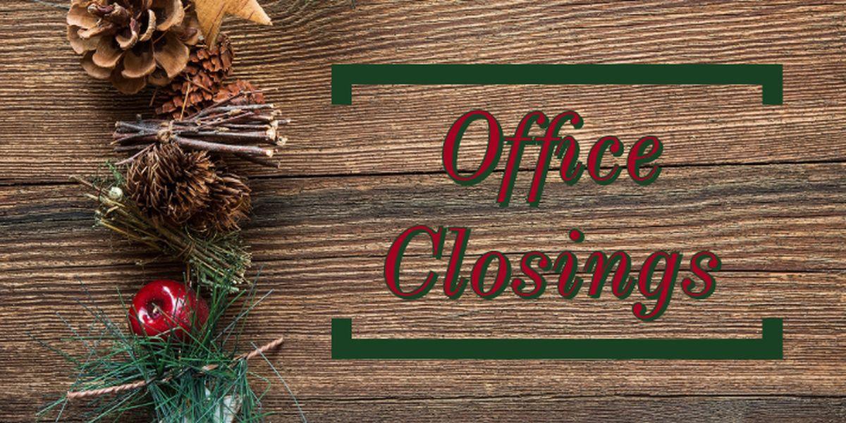 Horarios de oficinas del condado por vacaciones de Navidad